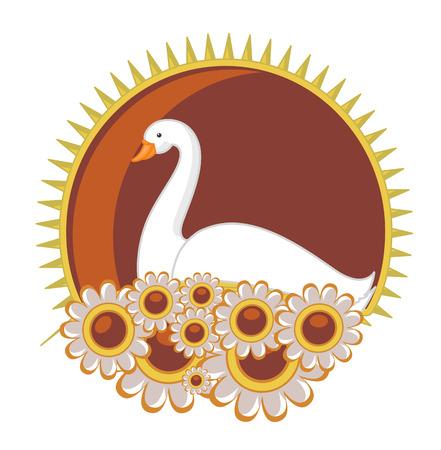 endangered species: Swan in Floral Frame