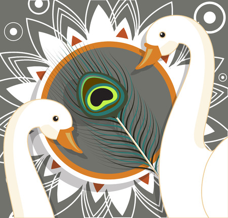 pooja: Swan Birds with Peacock Feather Background Vector