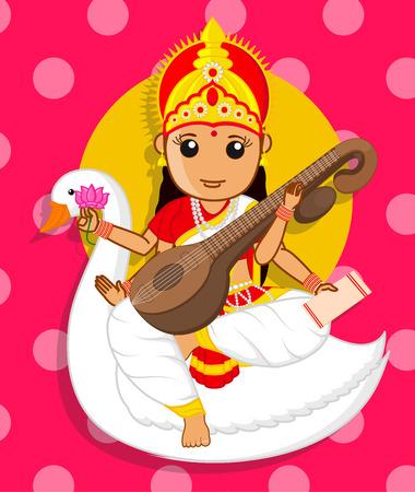 saraswati: Maa Saraswati Riding Swan