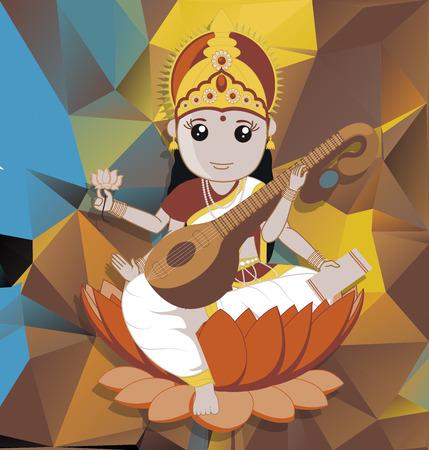 puja: Saraswati Puja - Indian Goddess Illustration