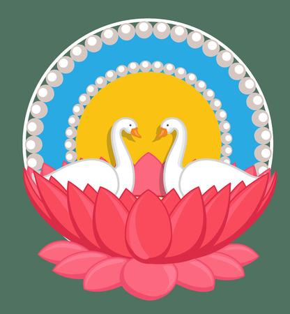 saraswati: Cartoon Swan Birds Couple in Lotus Illustration