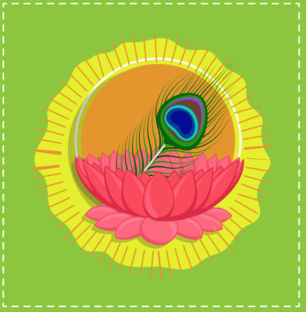 pooja: Peacock Feather in Lotus Flower - Spiritual Indian Background