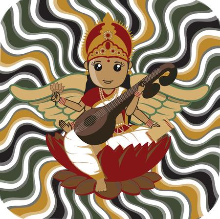saraswati: Indian Goddess Saraswati Illustration