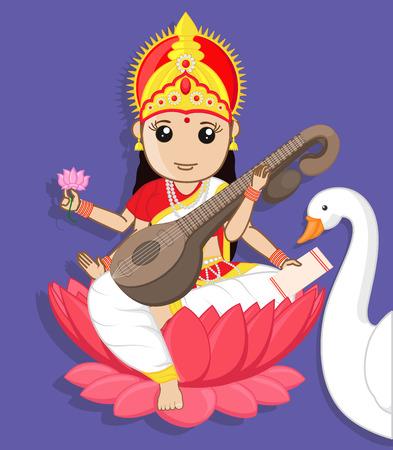 saraswati: Maa Saraswati - Indian Goddess with Swan Illustration