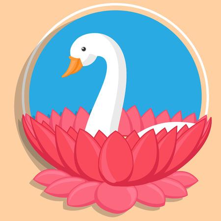 saraswati: Swan in Lotus Flower