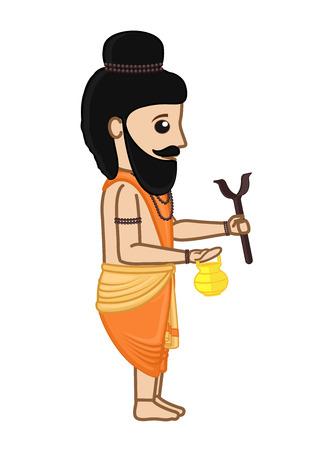 acharya: Cartoon Indian Saint Character Illustration