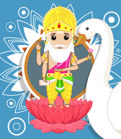 hindu goddess: Lord Brahma - The Creator of Universe Illustration