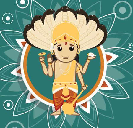 hindu god: Vishnu - dios hind� de la creaci�n Vectores