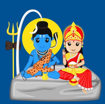 Shiva and Parvati - The Himalayan God and Goddess Illustration