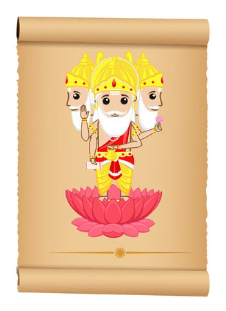 hindu god: Ilustraci�n de dios hind� Brahma Vectores