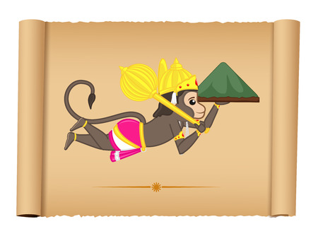 shri: Lord Hanuman Flying with Mountain Carrying Ayurvadic Sanjeevani Illustration