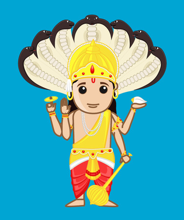 radha: Cartoon Vishnu - Indian God of Creation Illustration