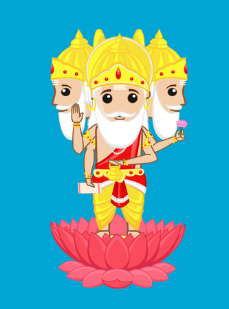 hindu god: Dios hind� Brahma - estilo de dibujos animados