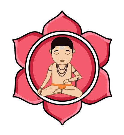 acharya: Cartoon Brahmin Concentrating Samadhi - A Practice of Yoga