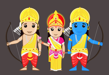 Lord Rama with Mata Sita and Brother Laxman 向量圖像