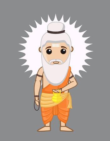 acharya: Cartoon Rishi - A Hindu Sage Illustration