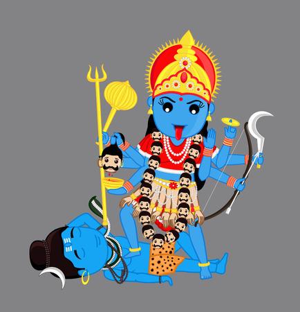 hindu goddess: Hindu Goddess Kali Mata Vector Illustration
