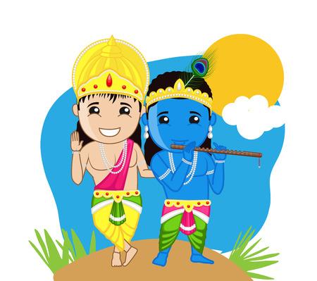 hindu god: Dios hind� - Shri Krishna y Balarama Vectores
