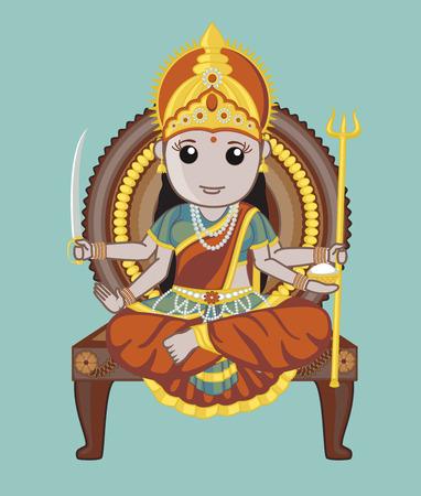 panchami: Indian Mythology Goddess - Santoshi Mata Illustration