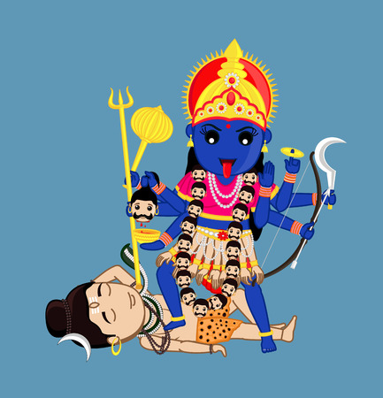 Maa Kali Standing Over Lord Shiva - Indian Mythology Goddess