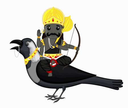dev: Shani Dev Riding on Crow Vector Illustration