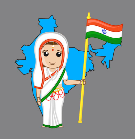 devi: Indian Patriotic Woman Holding a India Flag Illustration