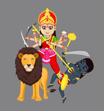 hindu goddess: Sherawali Mata - Hindu Goddess- Vector Illustration