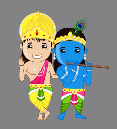 hindu god: Kanhaiya y Balarama Ni�os - Ilustraci�n dios hind� vectorial