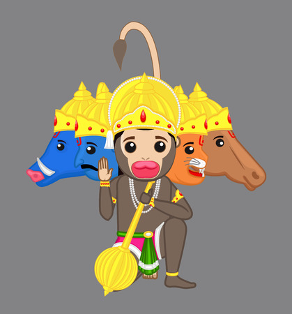 indian god: Five Faces Shri Hanuman Blessing - Indian God Illustration