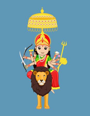 panchami: Sherawali Mata - Indian Goddess Illustration
