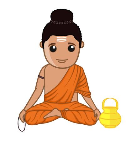 acharya: Gautam Buddha - Saint Character Illustration