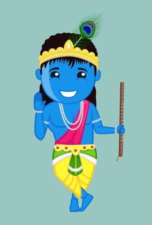 Cute Bal Krishna Blessing - Indian God