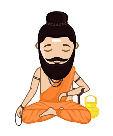 indian traditional: Concentrating Maharishi Vishvamitra - Hindu Saint