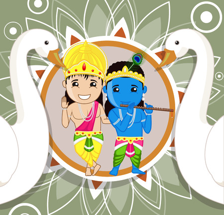 radha: Shri Krishna and Balarama Illustration