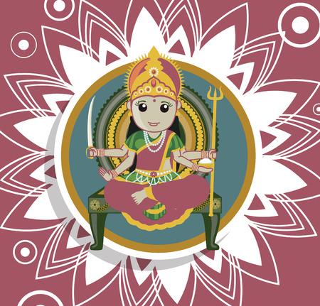 puja: Santoshi Mata Puja - Indian Goddess Illustration