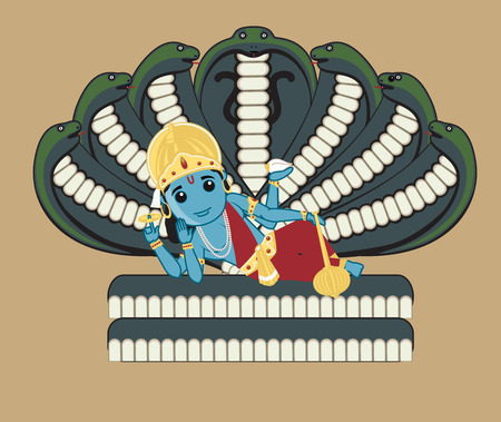 lord krishna: Vishnu - Indian Mythology God Illustration