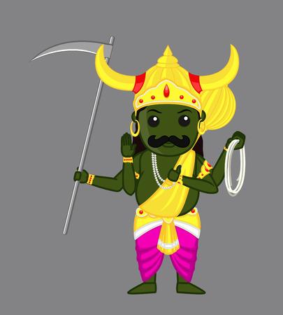 indian god: Yama Raj - Indian God of Death Illustration