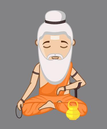 Old Maharishi Vishvamitra Vector Illustration Illustration