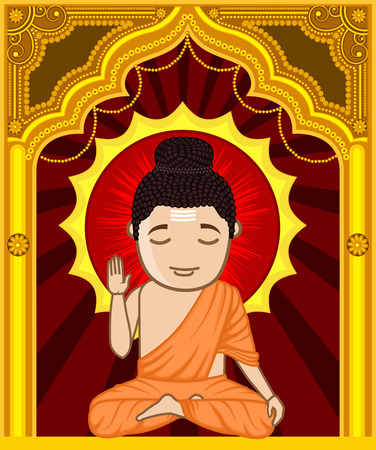 jain: Cartoon Gautam Buddha Illustration