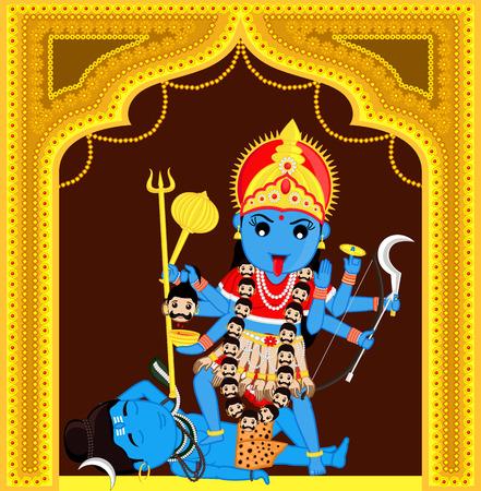 hindu god shiva: Maa Kali Standing Over Shiva
