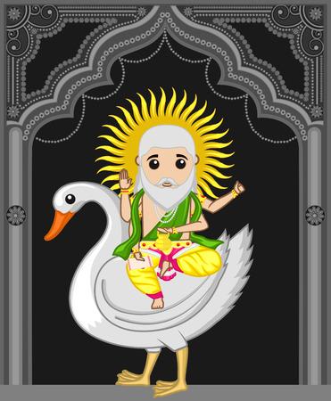 Lord Vishwakarma Riding on Swan