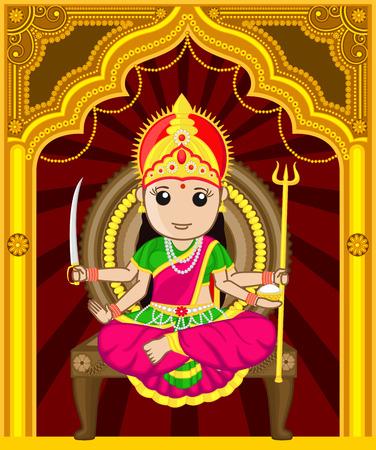 panchami: Maa Santoshi - Cartoon Indian Goddess Illustration