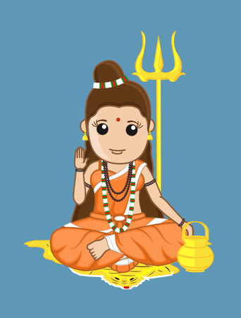 blessing: Blessing Sadhvi Character - Hindu Illustration