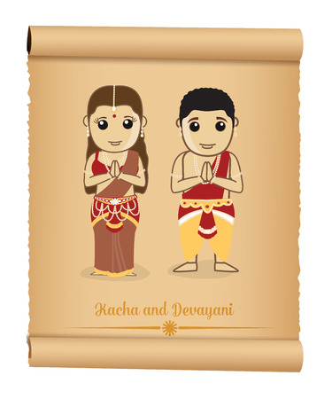 culture character: Kacha and Devayani - Mythological Cartoon Characters Illustration
