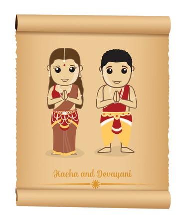 character cartoon: Kacha and Devayani - Mythological Cartoon Characters Illustration