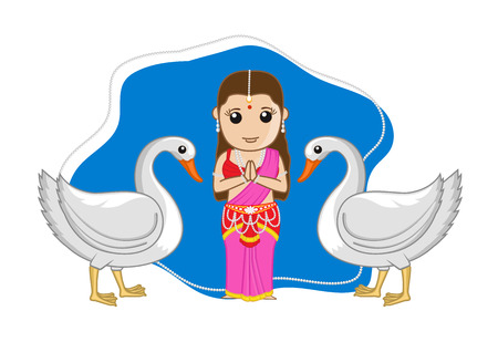 sita: Indian Mythological Female Goddess with Swan Birds Illustration