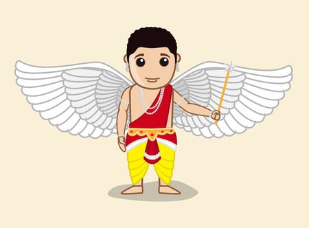 male angel: Cartoon Indian Traditional Male Angel