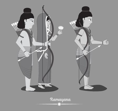 Cartoon Lord Rama with Sita and Laxmana