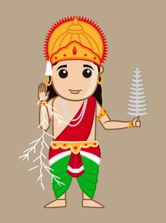 vedas: Cartoon Mythological Hindu Indra God