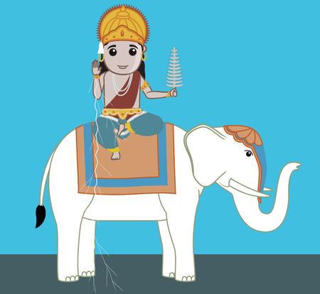 vedas: Lord Indra - Indian Mythological God Illustration
